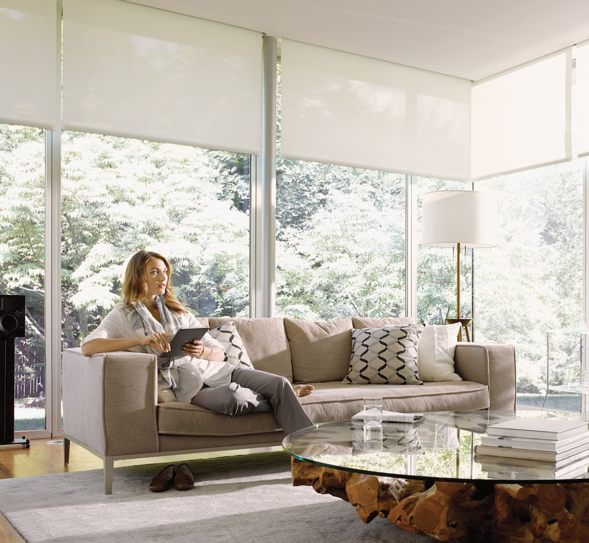 Living room with full-wall windows and shades