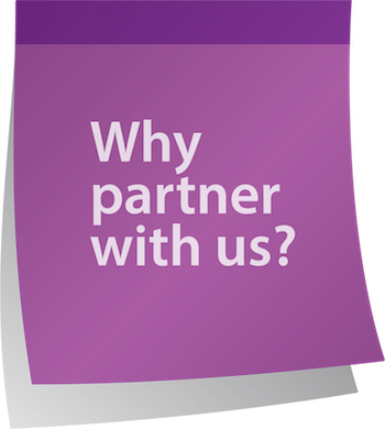 Why partner with us post-it graphic
