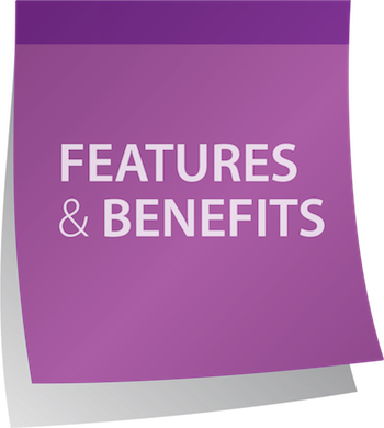 Features and benefits post-it graphic