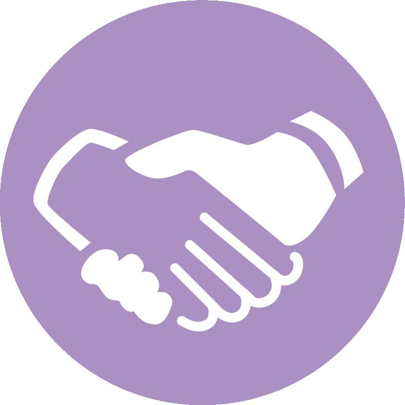 Handshake icon with purple background